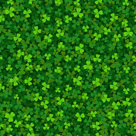 Green clover shamrock seamless pattern. St. Patricks day background. Vector illustration