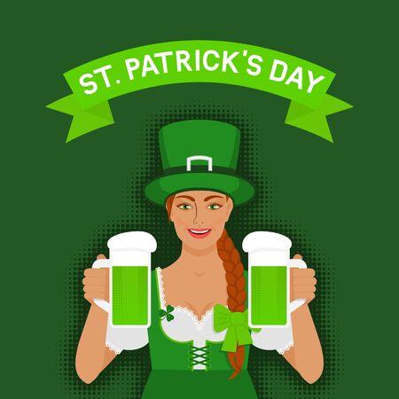 St. Patricks day greeting card. Redhead Irish girl holding two mugs of green beer. Vector illustration