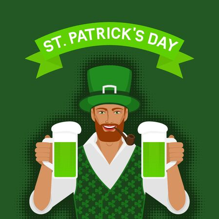St. Patricks day greeting card. Redhead Irish man holding two mugs of green beer. Vector illustration
