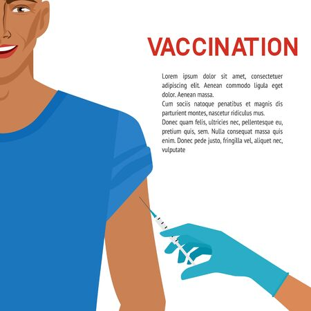 Healthcare concept. Smiling man getting vaccine. Vector illustration