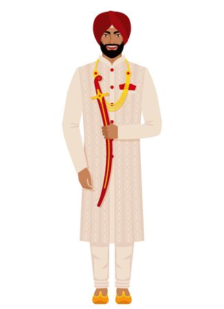 Indian groom in traditional costume. Vector illustration