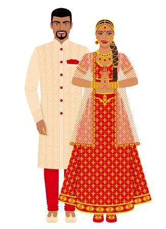 Indian wedding couple in traditional costumes. Vector illustration