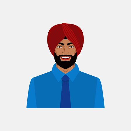 Smiling Indian businessman in turban. Vector illustration Stock fotó - 133507613