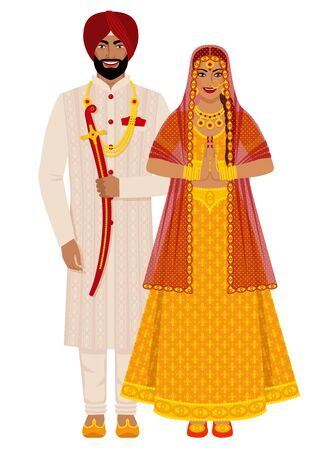 Indian bride and groom in traditional costumes. Vector illustration