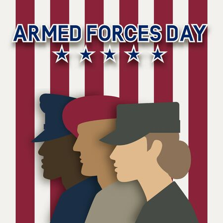 Three uniformed soldiers on striped background. Armed forces day card. Vector illustration 向量圖像