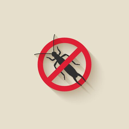 Earwig silhouette. Pest icon stop sign. Vector illustration