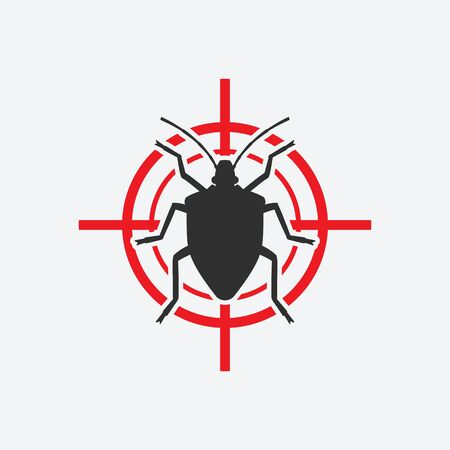 Stink Bug icon red target. Insect pest control sign. Vector illustration