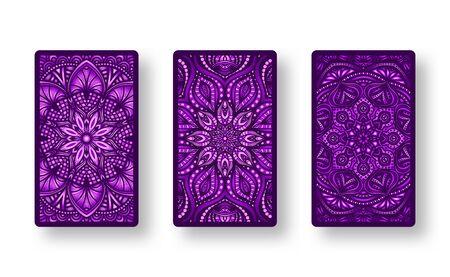 Floral stylized purple pattern. Collection back side of cards. Vector illustration Vektorové ilustrace
