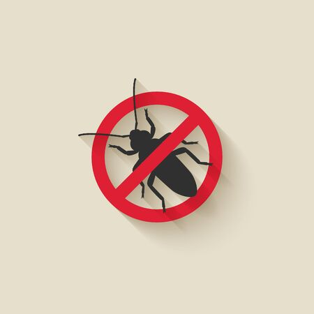 Old House Borer silhouette. Pest icon stop sign. Vector illustration