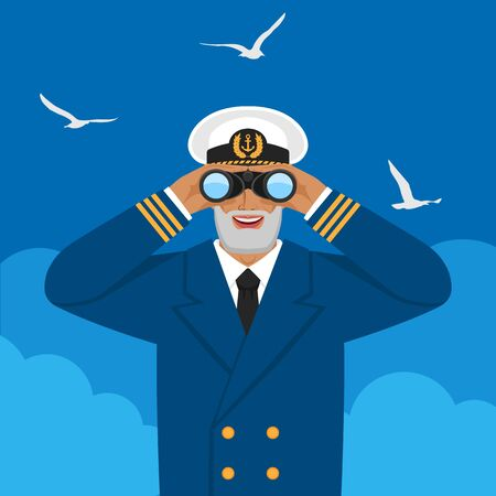 Captain looking through binoculars against cloudy sky and seagulls. Vector illustration