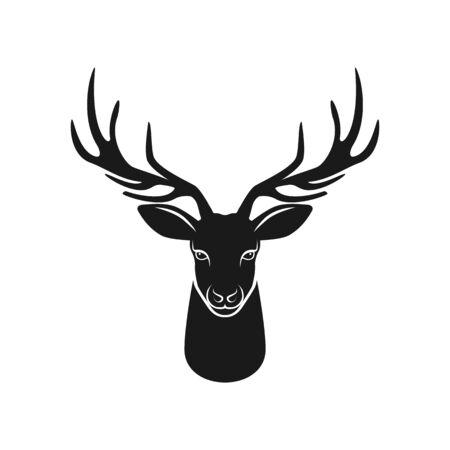 Hirschkopfschattenbild auf weißem Hintergrund. Vektor-Illustration
