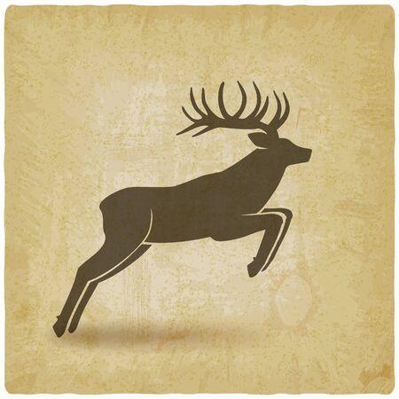 Jumping horned deer on vintage background. Vector illustration