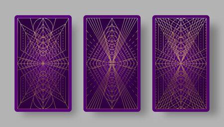 Tarot cards back set with geometric pattern. Vector illustration Vector Illustratie