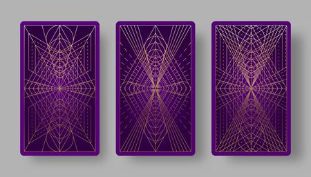 Tarot cards back set with geometric pattern. Vector illustration