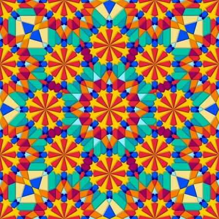 Kaleidoscope multicolor geometric seamless pattern. Vector illustration 向量圖像