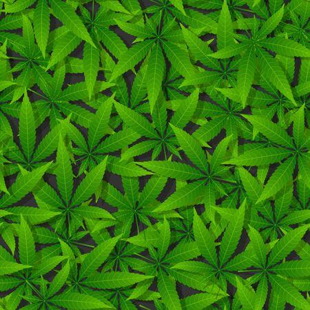 Green cannabis leaf seamless pattern. Vector illustration 向量圖像