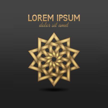 Arabic geometric golden circular pattern on black background. Vector illustration