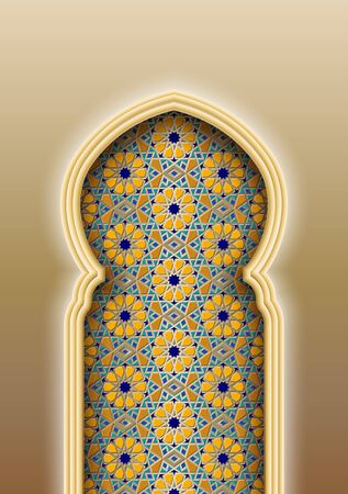 Arch with traditional Arabic Islamic pattern. Vector illustration
