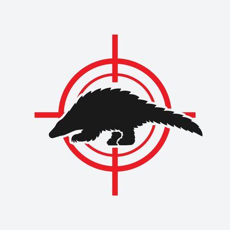 Pangolin black silhouette on red target. Vector illustration Illustration