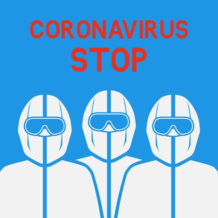 Doctors in protective suits on blue background