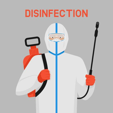 Doctor in protective suit with disinfection equipment 向量圖像