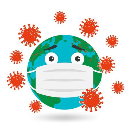 Planet earth in protective mask against virus 向量圖像