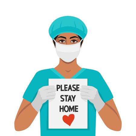 Doctor woman with sign Please stay home