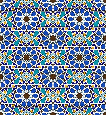 Mosaic arabic seamless pattern with geometric ornament
