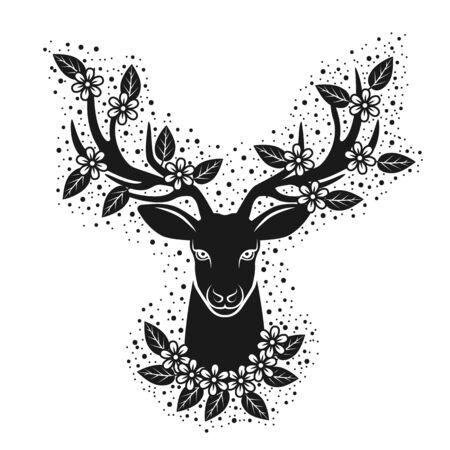 Deer head silhouette in blooming flowers. Design for t-shirt 向量圖像