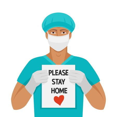 Doctor man with sign Please stay home 向量圖像