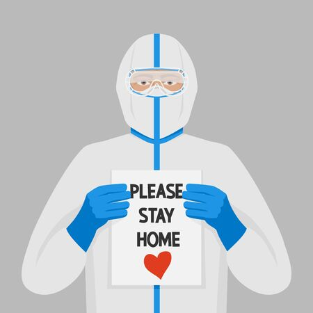 Doctor in protective suits with sign Please stay home 向量圖像