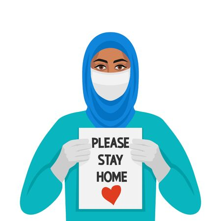 Doctor muslim woman with sign Please stay home