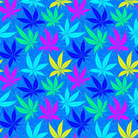 Cannabis leaves bright multicolored seamless pattern