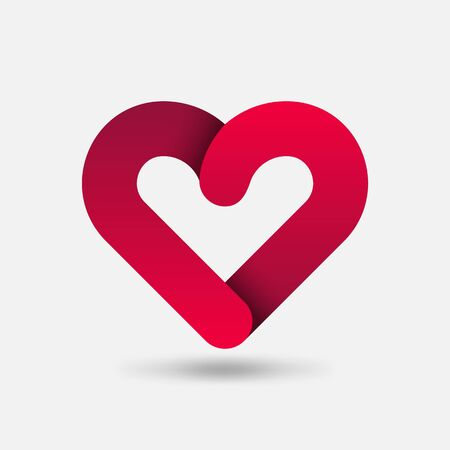 Red Heart Healthy Care symbol. Vector illustration
