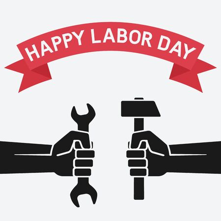Happy labor day concept. Hands holding hammer and wrench on vintage background. Vector Illustration