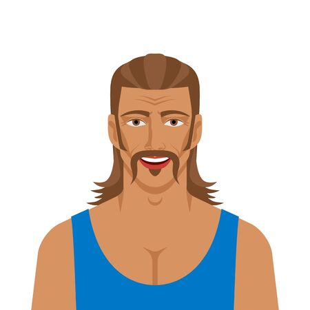 Handsome man with mullet hairstyle. Vector illustration 向量圖像