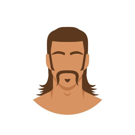 Face of man with mustache and mullet hairstyle. Vector illustration