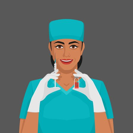 Nurse with syringe and vial. Healthcare concept.. Vector illustration 向量圖像