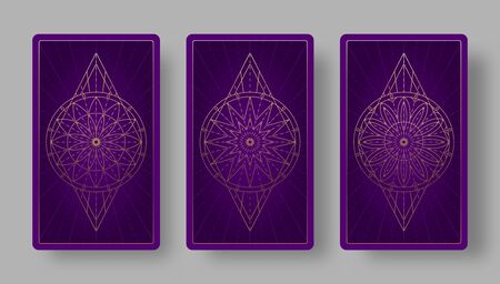 Tarot cards back set with stylized floral pattern. Vector illustration
