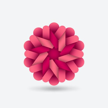 Pink stylized flower abstract symbol. Vector illustration