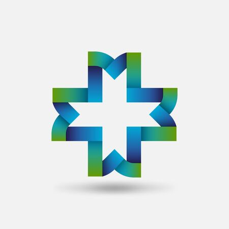 Healthy Care symbol. Cross of intertwined ribbons. Vector illustration