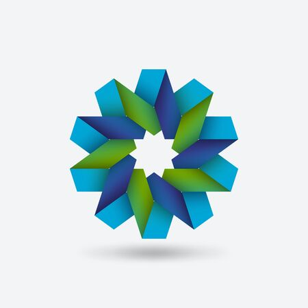 Flower geometric symbol blue and green of intertwined ribbons. Vector illustration