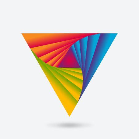 Twisting triangle abstract multicolor icon. Vector illustration