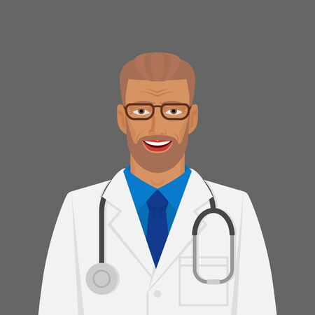 Doctor medic man in white coat with stethoscope. Vector illustration 向量圖像