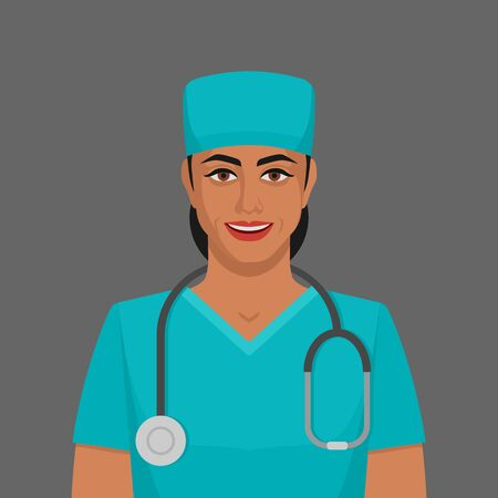 Smiling doctor woman with stethoscope. Vector illustration