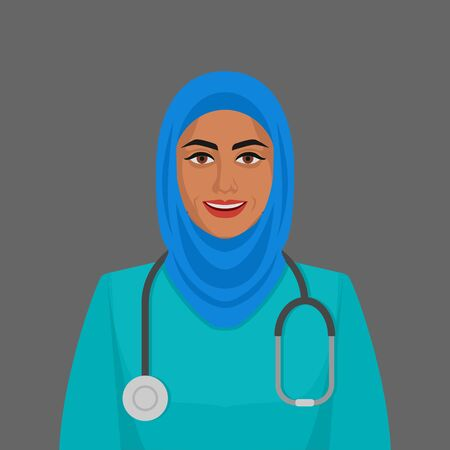 Smiling doctor muslim woman with stethoscope. Vector illustration