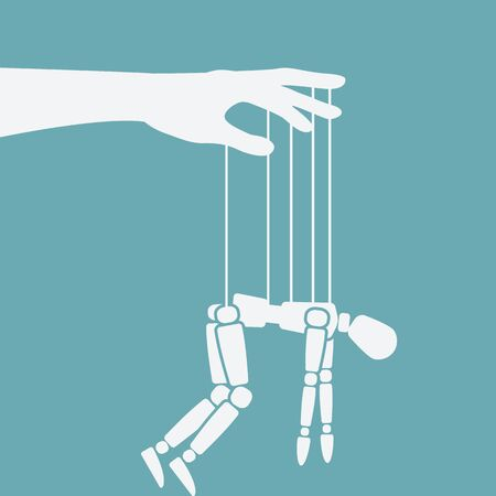 Puppet marionette on ropes. Chronic fatigue syndrome concept. Vector illustration