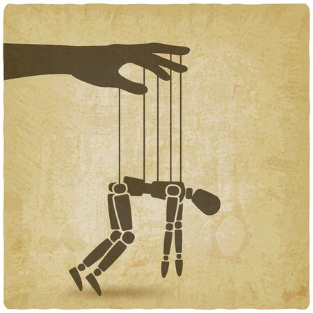 Puppet marionette on ropes on vintage background. Chronic fatigue syndrome concept. Vector illustration