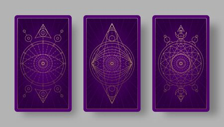 Tarot cards back set with mystical symbols. Vector illustration