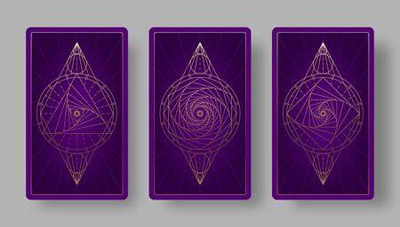 Tarot cards back set with geometric symbols. Vector illustration